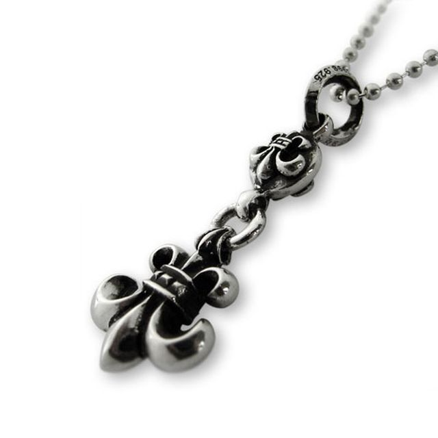 【海外訂購】【Chrome Hearts】球型連墜鳶尾花純銀項鍊(CHC-019BSF 0083430000) 3
