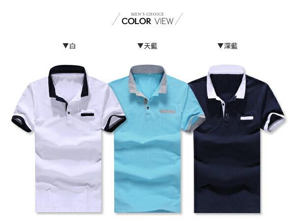 ☆BOY-2☆【NZ93006】休閒撞色假兩件男裝短袖POLO衫 1