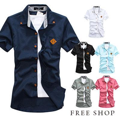 Free Shop【QMD50027】日韓休閒型男木紋扣豬鼻皮標口袋條紋拼布素面牛津短袖襯衫‧六色
