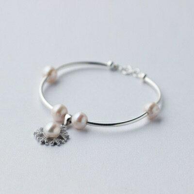 925純銀手鍊珍珠手環~潔白無瑕甜美氣質七夕情人節 女飾品73dp104~ ~~米蘭 ~