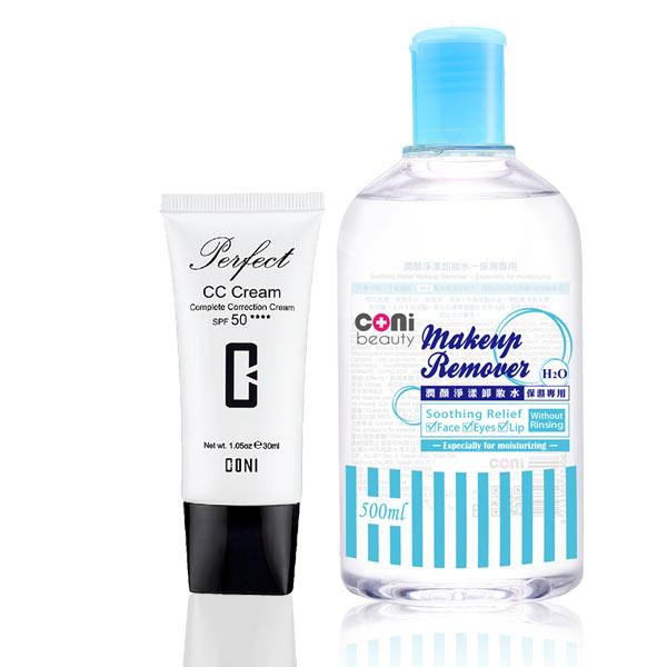 CONI 礦物水潤CC霜SPF50 30ml + coni beauty 潤顏淨漾卸妝水-保濕專用 500ml