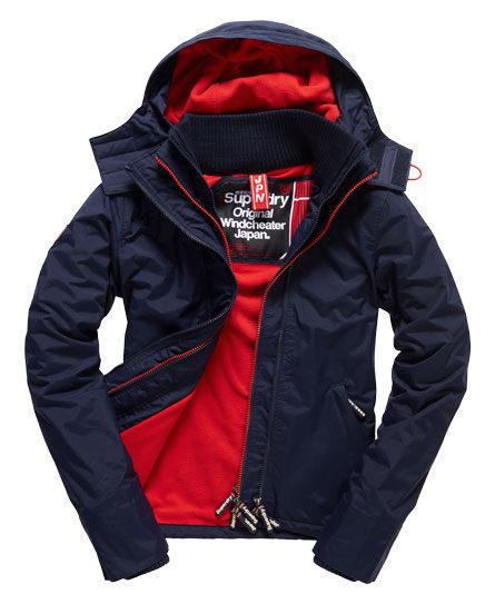 [女款]Outlet英國 極度乾燥 Pop Zip Hooded系列  三層拉鍊 連帽防風衣夾克 海軍藍/叛逆紅 0