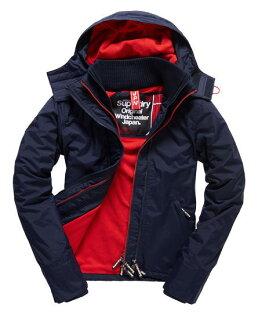 [女款]Outlet英國 極度乾燥 Pop Zip Hooded系列  三層拉鍊 連帽防風衣夾克 海軍藍/叛逆紅