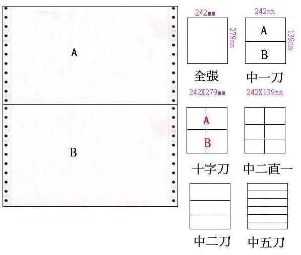 台灣製 (9.5*11*1P)80行 全白 雙切全頁/中一刀報表紙(三箱入) 1