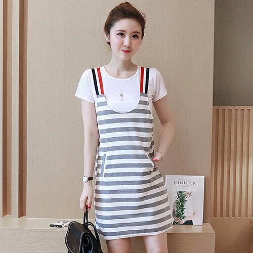 YJY韓國休閒條紋吊帶裙兩件式套裝YJY[Y8931]-2色全尺碼
