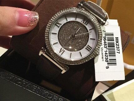 美國Outlet 正品代購 MichaelKors MK 銀鑲鑽 深咖色皮帶三環計時手錶腕錶 MK2377 4