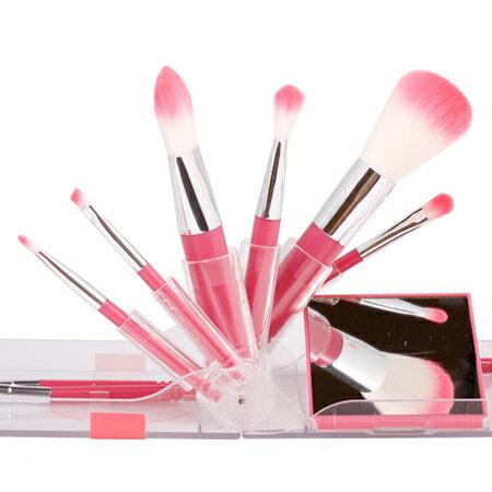 韓國 Coringco 粉紅刷具9件組(附鏡子) 眼影刷 粉底刷 底妝刷【N202156】