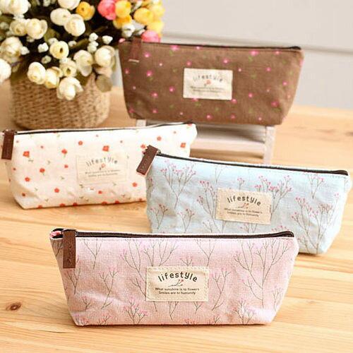 筆袋碎花帆布文具袋小物包(粉紅、米、藍、咖啡)-JC Collection