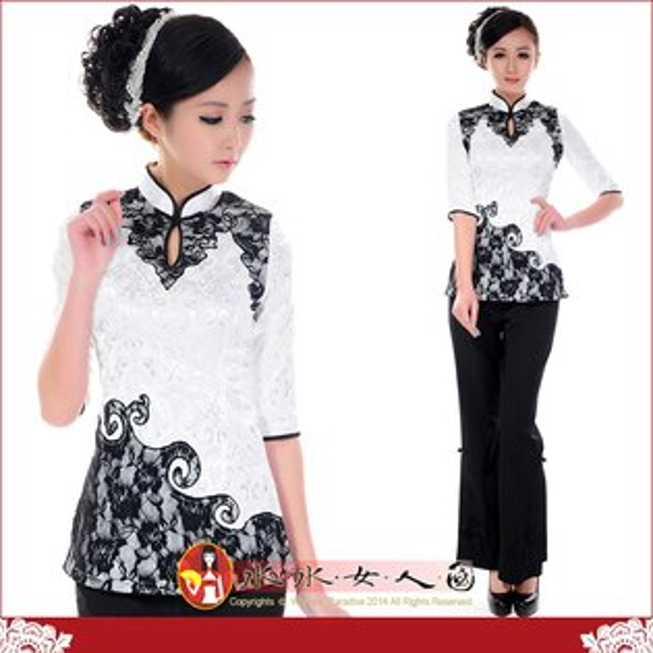 【水水女人國】~時尚中國風美穿在身~復古黑色蕾絲鑲邊白底七分袖旗袍式唐裝上衣