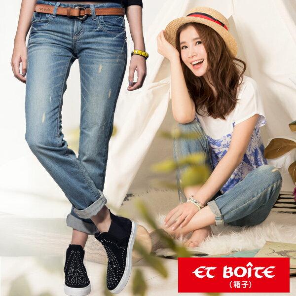 【ET BOîTE 箱子】男友風刷色牛仔褲(共2色,S-XL) 現貨