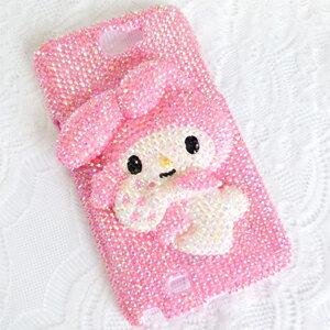 Samsung Note2.Note3 糖果兔子 公仔貼鑽手機殼 Enya恩雅(果凍琉璃鑽)(郵寄免運)