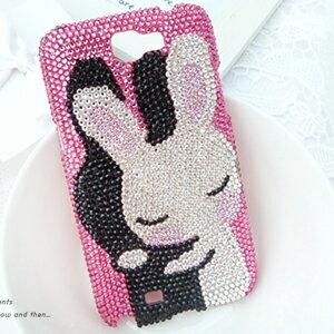 Samsung Note3 真心的擁抱-黑白兔 華麗貼鑽手機殼 Enya恩雅(郵寄免運)