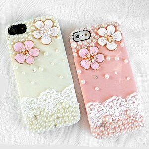 iPhone5S 蕾絲珍珠花 清新貼鑽手機殼 Enya恩雅(捷克水晶鑽)(郵寄免運)
