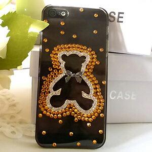 iPhone5S 水鑽可愛小熊 清新貼鑽手機殼 Enya恩雅(捷克水晶鑽)(郵寄免運)