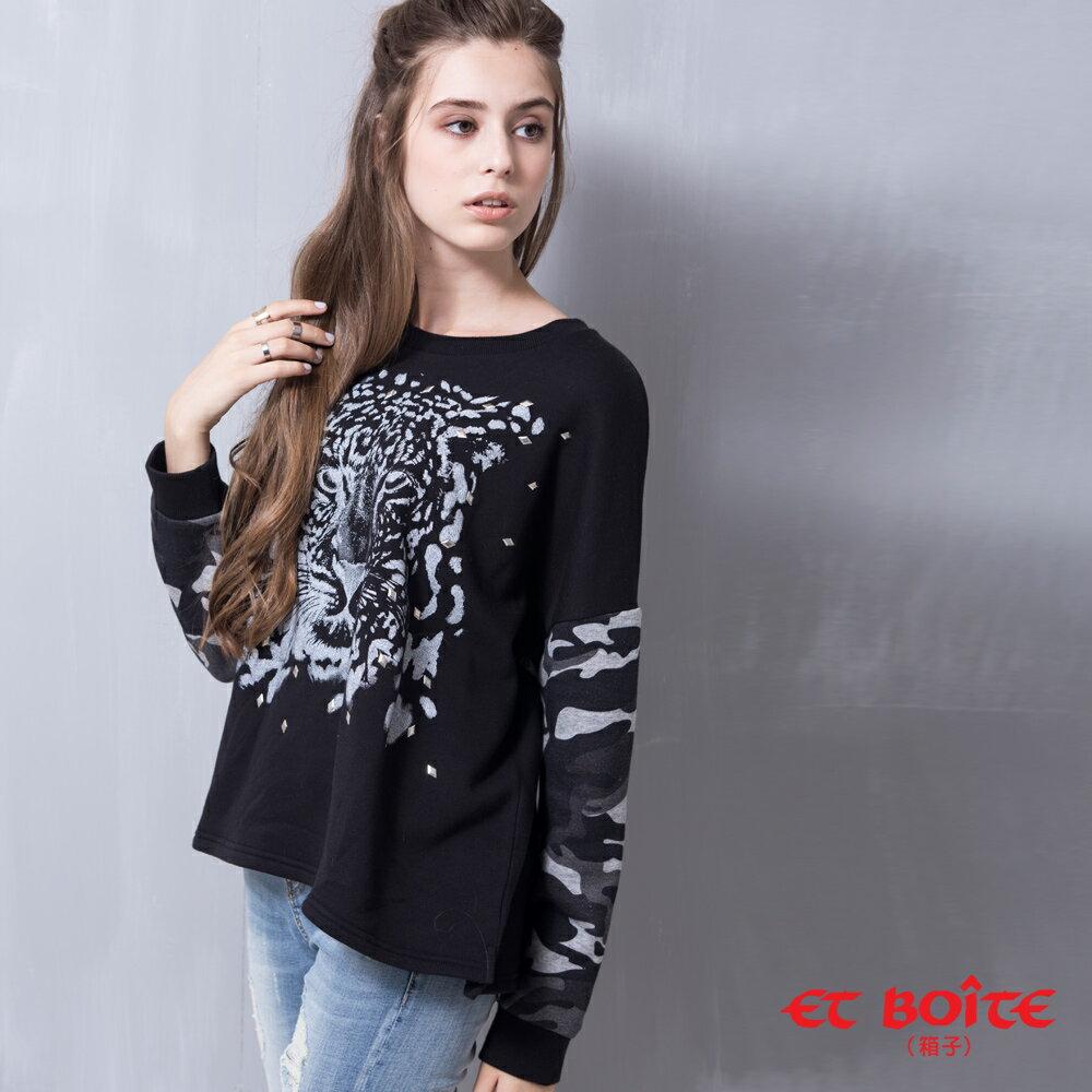 【ET BOîTE 箱子】 豹紋迷彩寬T恤(黑) 0