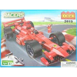 COGO積高積木3419 F1賽車(紅色)可與樂高混拼(大)367片/一組入{促800}