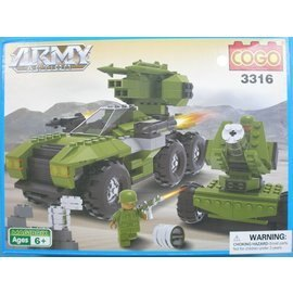 COGO積高積木 3316 軍事火炮裝甲車積木 約376片/一盒入{促800}~可與樂高混拼 CF111312