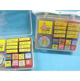 海綿寶寶印章T065盒裝印章組^(透明壓盒^)^~  一盒入^~促150^~