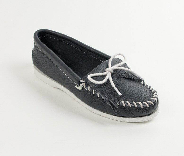 【Minnetonka 莫卡辛】藍色- 經典牛皮流蘇帆船鞋 0