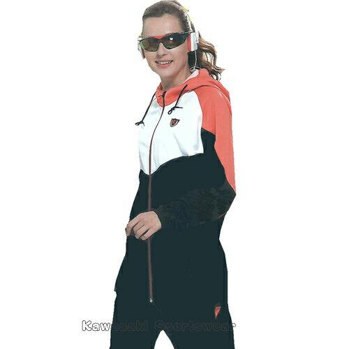 【日本Kawasaki】女版針織吸濕排汗單層連帽運動服套裝(全套-黑橘)#KW215AB - 限時優惠好康折扣