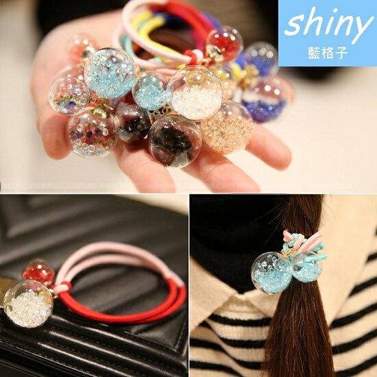 【DJB6201】shiny藍格子-甜美水晶玻璃球雙色皮筋發圈(隨機發)