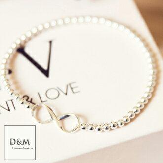 純銀符號手鍊手環 無限大 珠鍊D&M喬治傑森GJ可參考 情人節禮物年度項鍊銀飾【A00032】