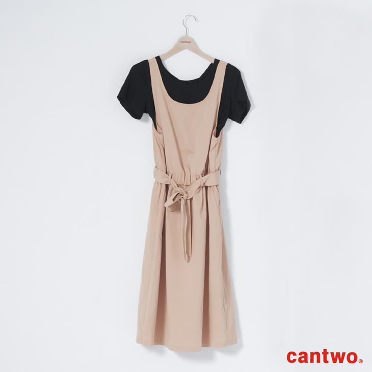cantwo挖背連身裙+短T兩件式組合(共三色) 6