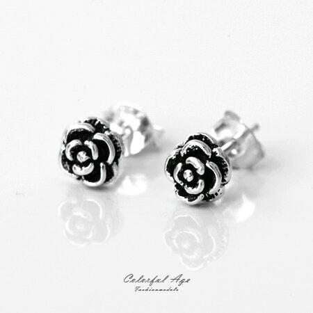 925純銀貼耳式耳針耳環 雙色玫瑰花朵 抗過敏抗氧化 精緻雕花 附耳後扣 柒彩年代【NPD27】一對價格 0