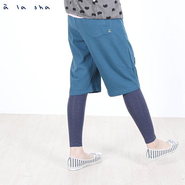 a la sha Qummi 假兩件式動物口袋剪接褲