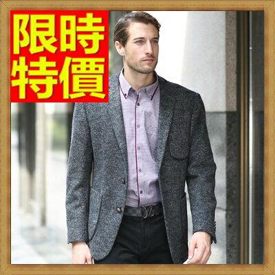 毛呢外套 男西服-羊毛翻領修身雙扣男西裝外套63af44【韓國進口】【米蘭精品】
