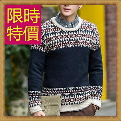 毛衣 男針織衫-秋冬溫暖套頭圓領男長袖上衣63t20【韓國進口】【米蘭精品】