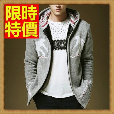 針織外套 男開襟毛衣-美麗諾羊毛連帽加厚男針織衫3色64k25【澳洲進口】【米蘭精品】