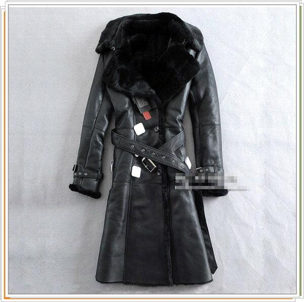 真皮皮衣 風衣外套-皮毛一體翻領修身時尚羊皮女長大衣9b48【義大利進口】【米蘭精品】