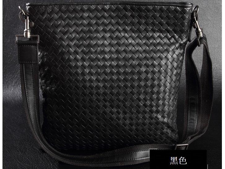 編織包 肩背包-時尚手工羊皮真皮男包包2色8c72【義大利進口】【米蘭精品】 1