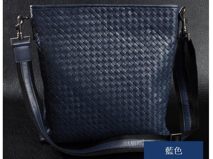 編織包 肩背包-時尚手工羊皮真皮男包包2色8c72【義大利進口】【米蘭精品】 0