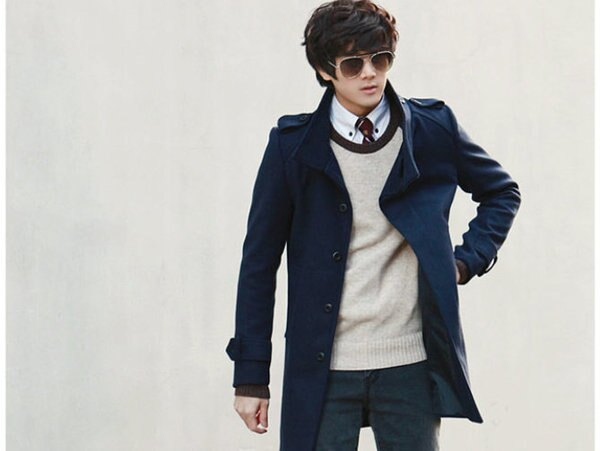 毛呢外套 男大衣-秋冬保暖修身長版男風衣5色cm155【韓國進口】【米蘭精品】