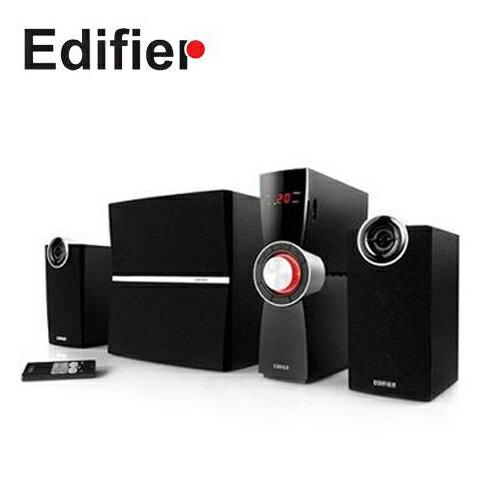 【EDIFIER 漫步者】流行時尚X曲線 可紅外線遙控 全木質音箱 三件式多媒體喇叭 C2X