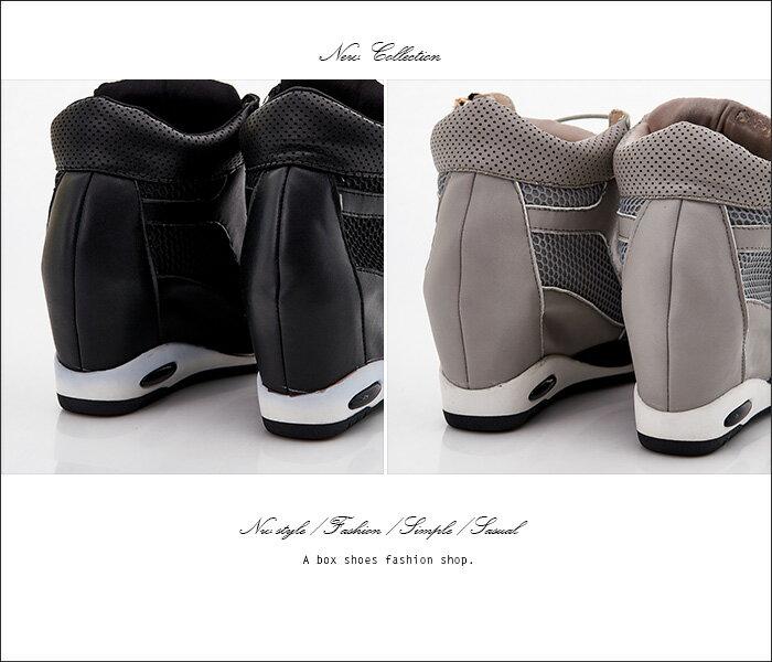 格子舖*【KF1638-1】韓國製造 質感高品質真皮透氣網布 綁帶拉鍊內增高休閒運動鞋 2色 2