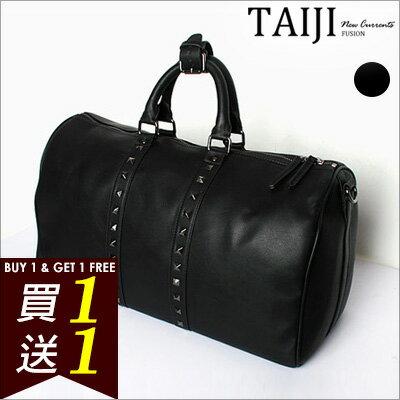 旅行袋‧街頭 鉚釘皮質手提側背旅行袋‧一色~NXA527~~TAIJI~F