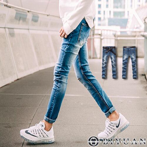 刀割牛仔褲~Y0330~OBI YUAN 水洗刷痕雙膝抽鬚破壞彈性窄版休閒褲