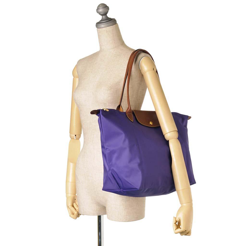 [長柄M號]國外Outlet代購正品 法國巴黎 Longchamp [1899-M號] 長柄 購物袋防水尼龍手提肩背水餃包 水晶紫 3