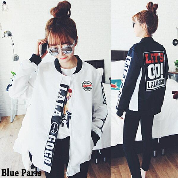上衣 - 原宿風Let's GO滑面棒球外套【29152】藍色巴黎《2色》現貨 + 預購 0