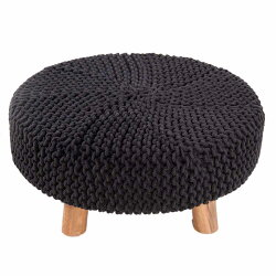 Homescapes Black Knitted Pouffe Footstool -  62 X 62 X 30 cm