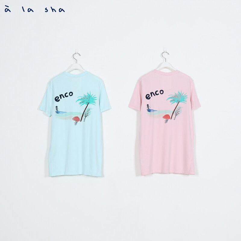 a la sha enco 夏威夷衝浪圖圓領短T(男) 3