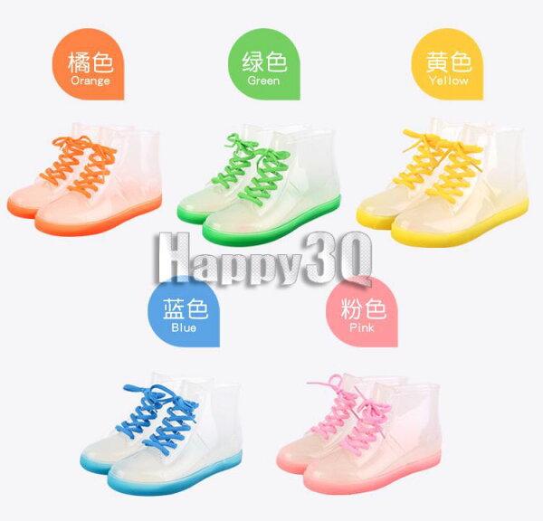 韓版果凍透明繽紛色彩防滑橡膠平底短筒雨靴-橘/紅/黃/綠/藍35-39【AAA0119】