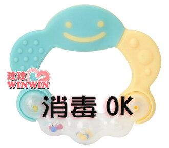 日本 - 利其爾 Richell - 423172 水藍色有聲音固齒器( 附收納盒) 耐熱120度~蒸煮消毒OK