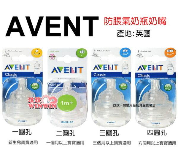 AVENT 防脹氣奶瓶奶嘴「1.2.3.4圓孔 - 可選」英國原裝進口 ~ 一組2入裝