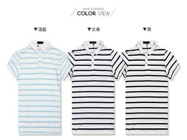 ☆BOY-2☆【NQ93004】美式休閒條紋修身短袖POLO衫 1