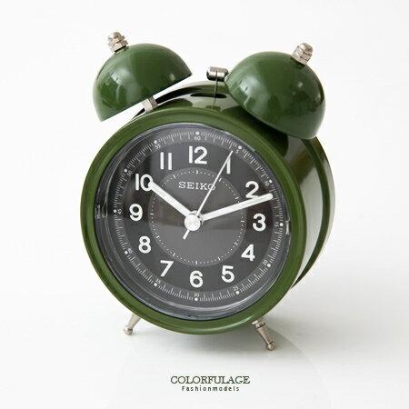 SEIKO精工鬧鐘 復古大聲公造型 獨特軍綠色響亮鬧鈴夜光功能鬧鐘 柒彩年代【NE1611】原廠公司貨