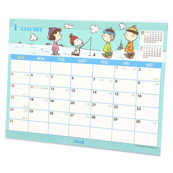 史努比2016年曆月曆桌曆翻式小附塑膠腳架雪地釣魚381502海渡